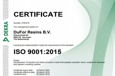 DuFor is recertified to latest ISO 9001:2015 Standard